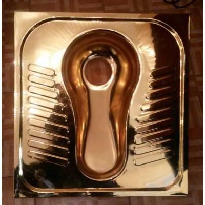 کاسه توالت استیل ایرانی با روکش طلا