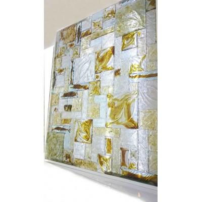 پازل های ترکیبی کاشی شیشه ای رنگ گرم – قهوه ای سفید پودری