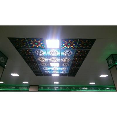 ایجاد بافت اسلیمی در سقف نمازخانه مدرسه معلم