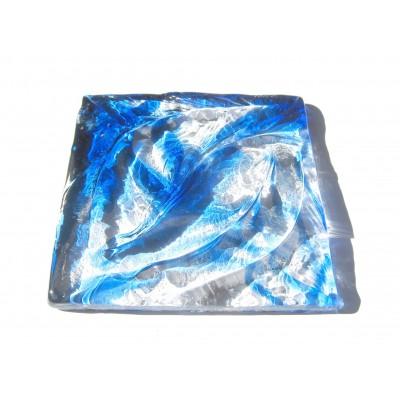 کاشی شیشه ای دست ساز مربعی رنگ تو رنگی فیروزه