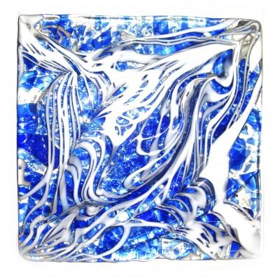 کاشی شیشه ای دست ساز مربعی رنگ تو شیری چیپسی لاجوردی