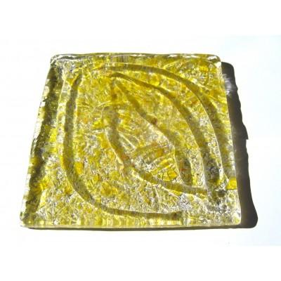 کاشی شیشه ای دست ساز مربعی رنگ چیپسی زرد