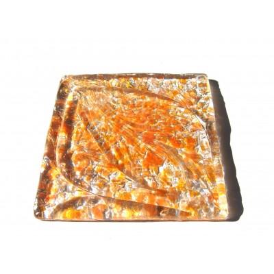 کاشی شیشه ای دست ساز مربعی رنگ چیپسی نارنجی