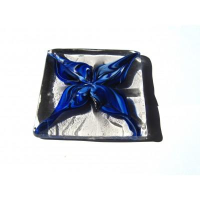 کاشی شیشه ای دست ساز مربعی طرح گل لاجورد
