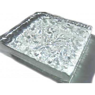 کاشی شیشه ای دست ساز مربعی کفی سفید شفاف