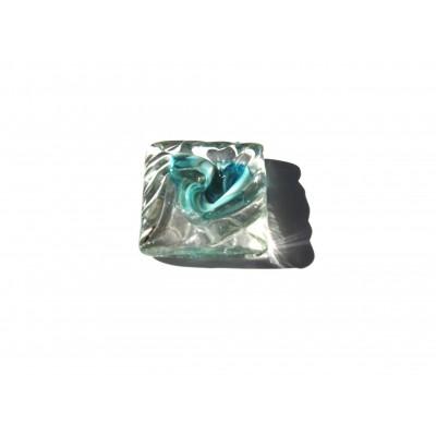 کاشی شیشه ای دست ساز مکعبی رنگ سه پوست فیروزه ای